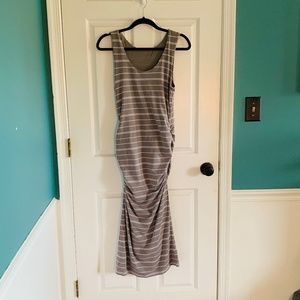 ATHLETA grey and white ruched striped dress size M